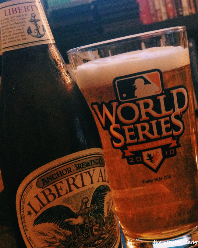 Anchor Steam beer and Giants World Series pint glass